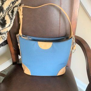 JOY MANGANO Teal/Tan Trim Bucket Shoulder Handbag